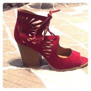 Suede maroon color heels